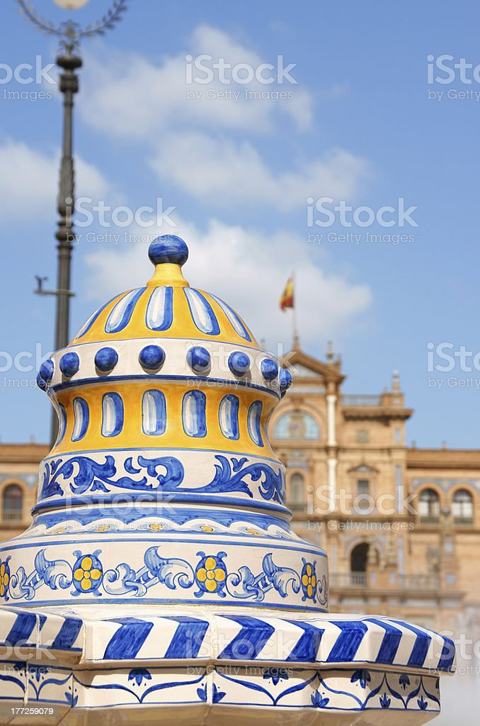 Detail of Plaza De Espana in Seville royalty-free stock photo