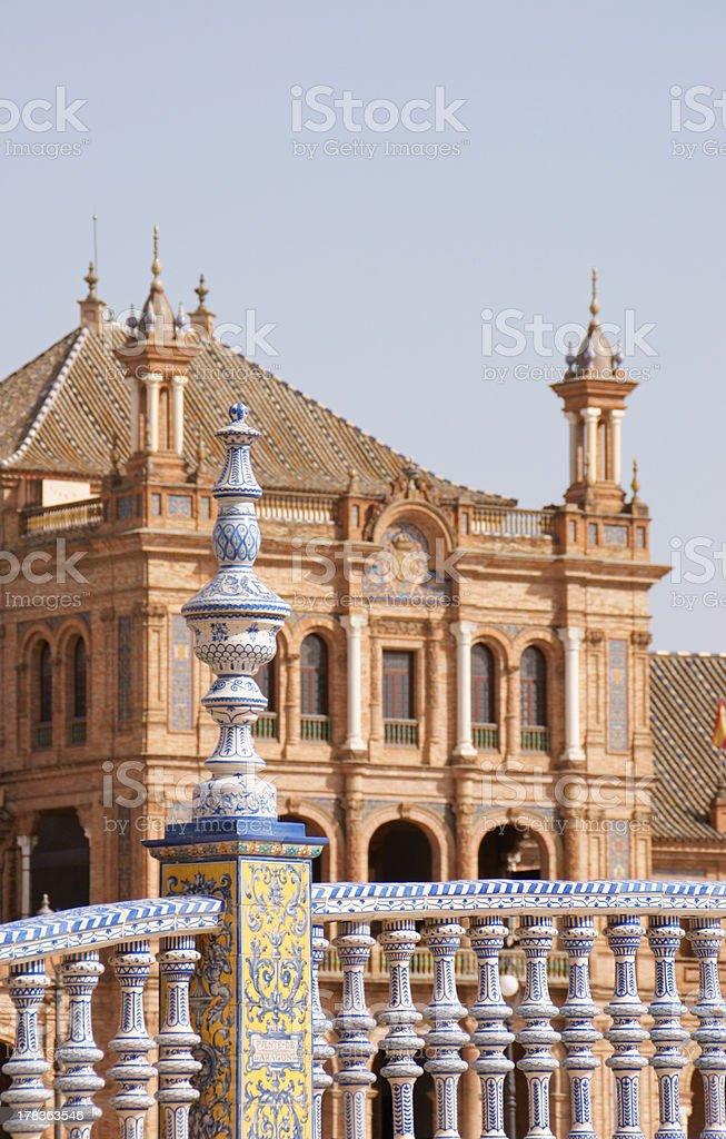 Detail of Plaza de Espana in Seville stock photo
