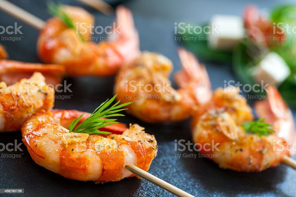 Detail of prawn brochette. stock photo
