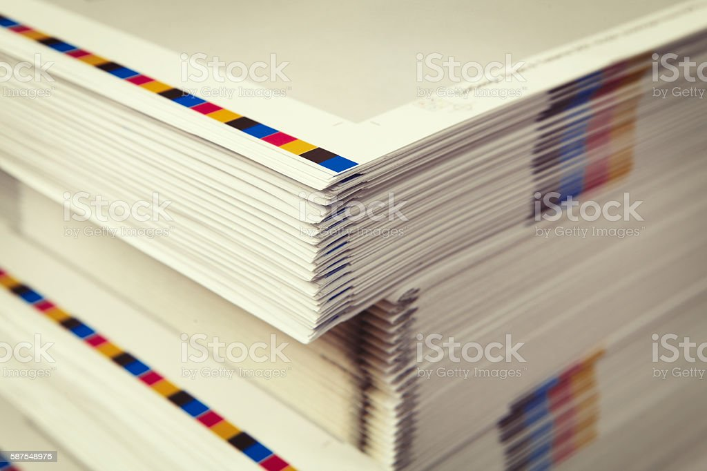 Detail of printed folders in the printing factory stock photo
