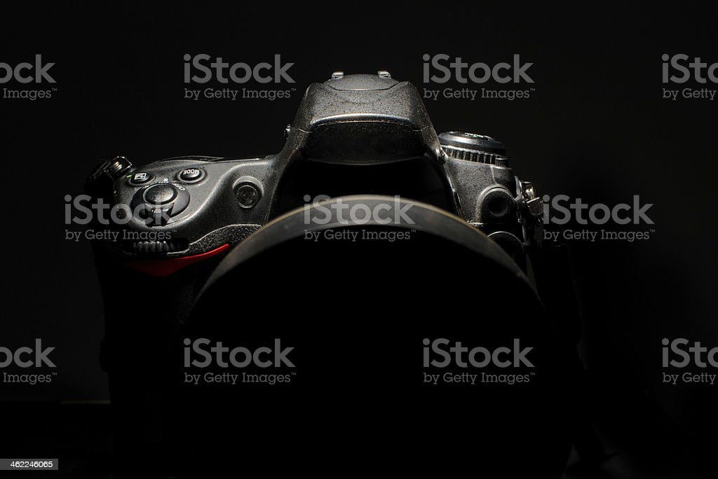 detail of professional digital photo camera stock photo