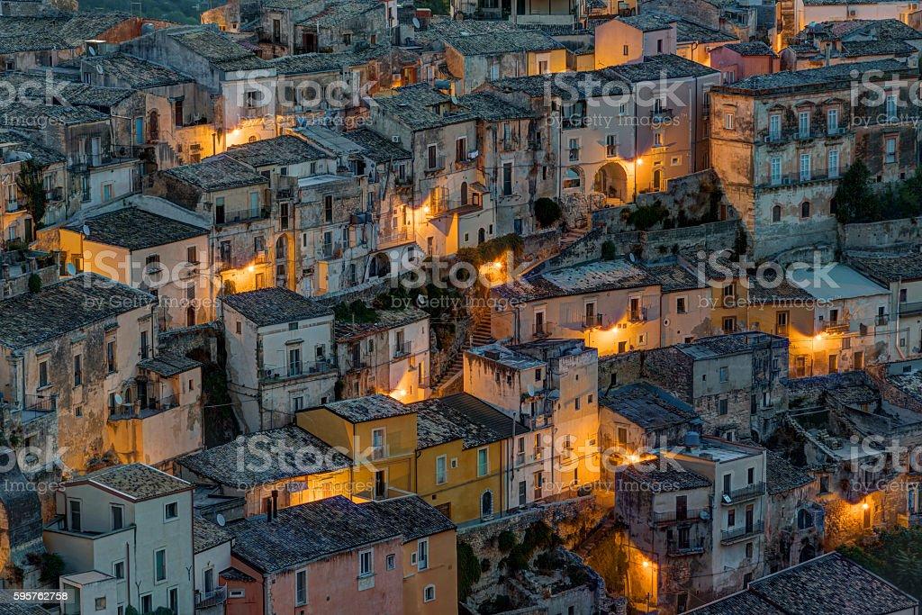 Detail of Ragusa Ibla at night stock photo