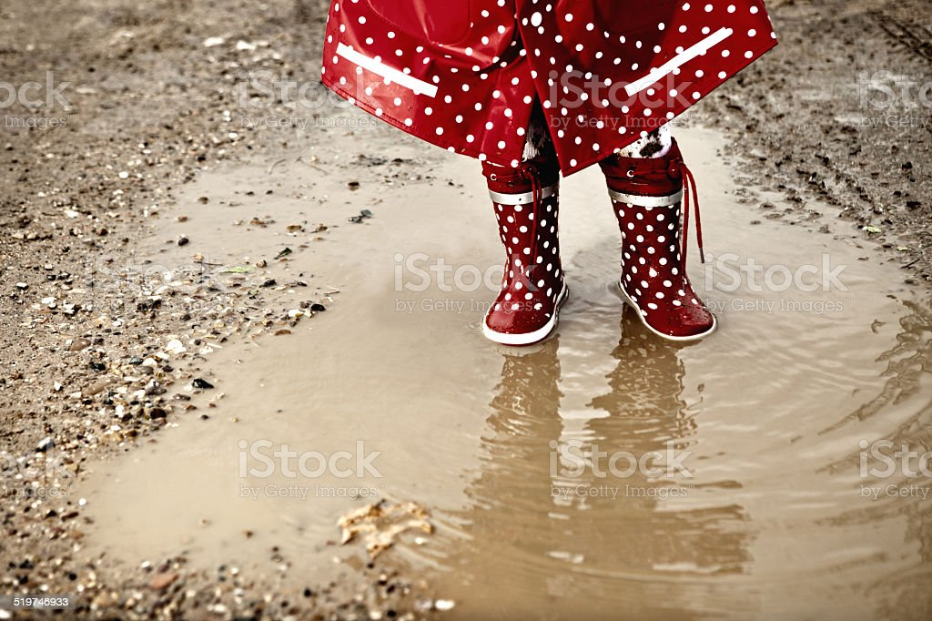 Detail of rainboots stock photo