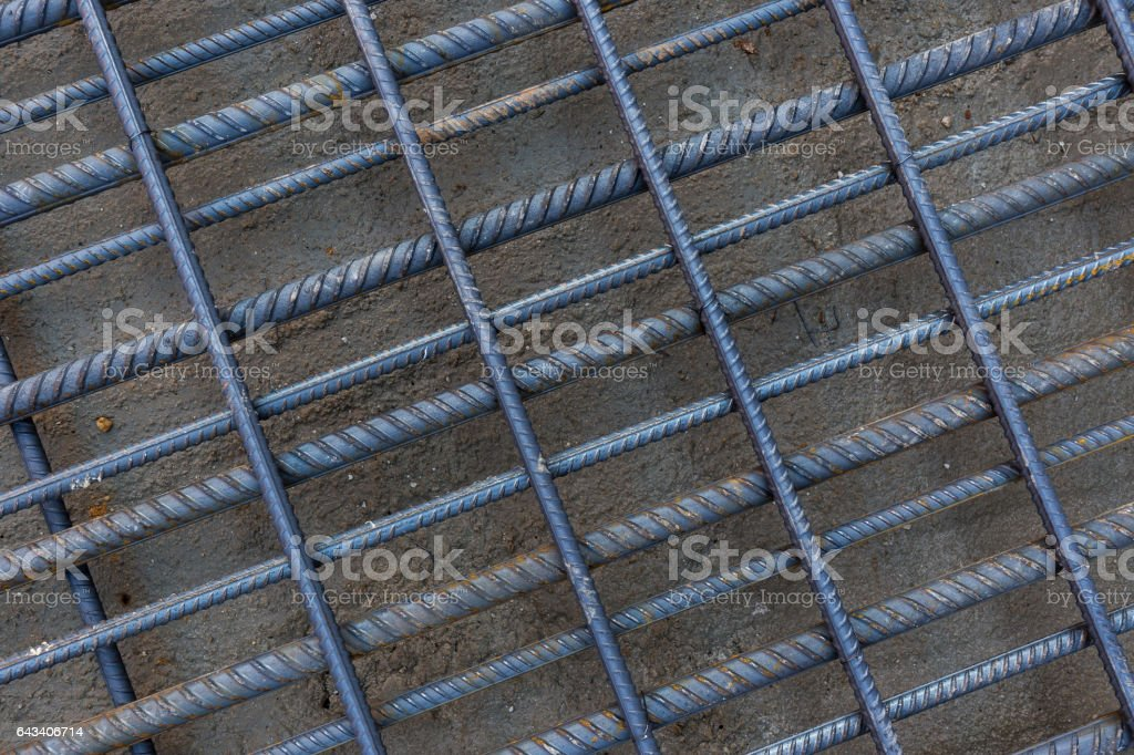 Detail of rebar grid stock photo