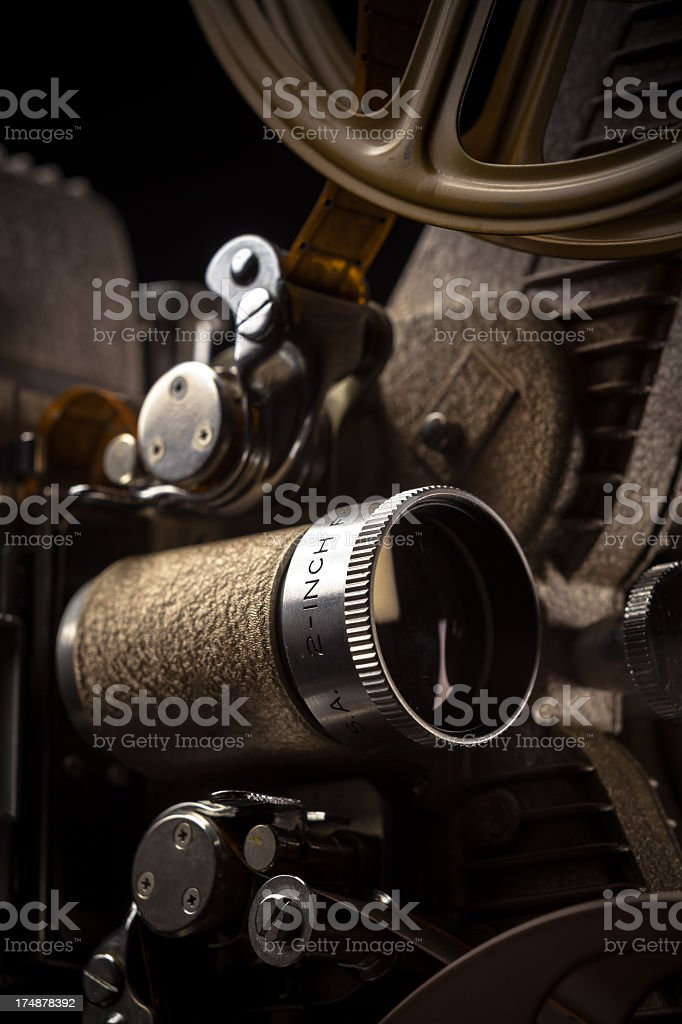 Detail of Retro 16mm Movie Projector stock photo
