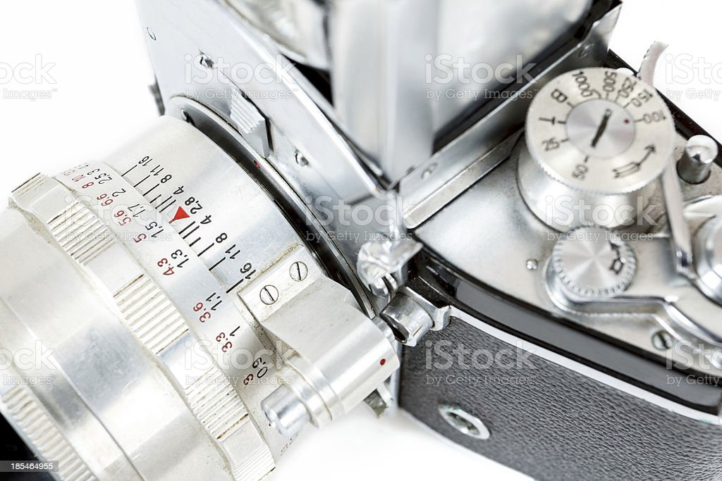 detail of retro old vintage analog photo camera royalty-free stock photo