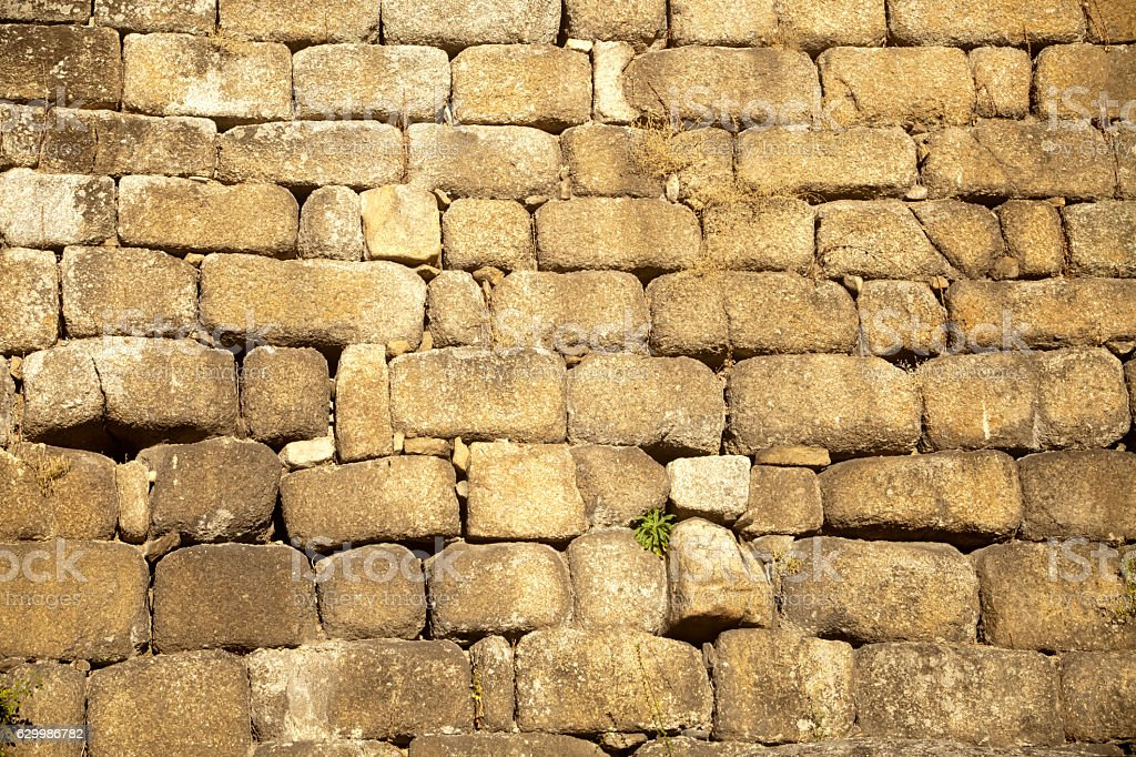 Detail of Ribadavia ancient tower stone wall, Ourense, Galicia, Spain. stock photo