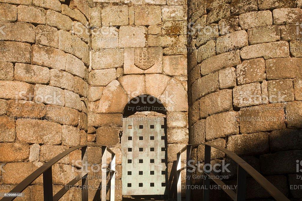 Detail of Ribadavia tower entrance, Ourense, Galicia, Spain. stock photo