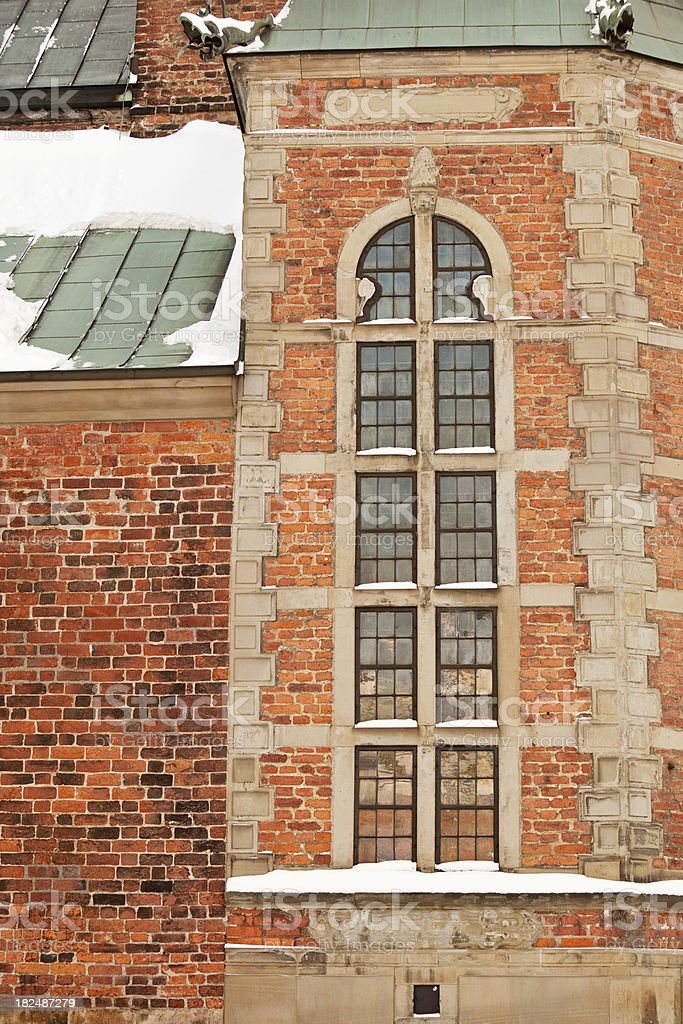 Detail of Riddarholms church in Stockholm Sweden, Winter. stock photo
