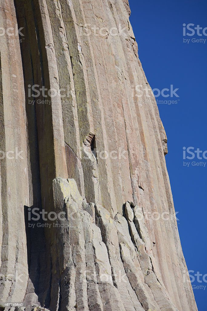 Detail of rock face of Devil's Tower. stock photo