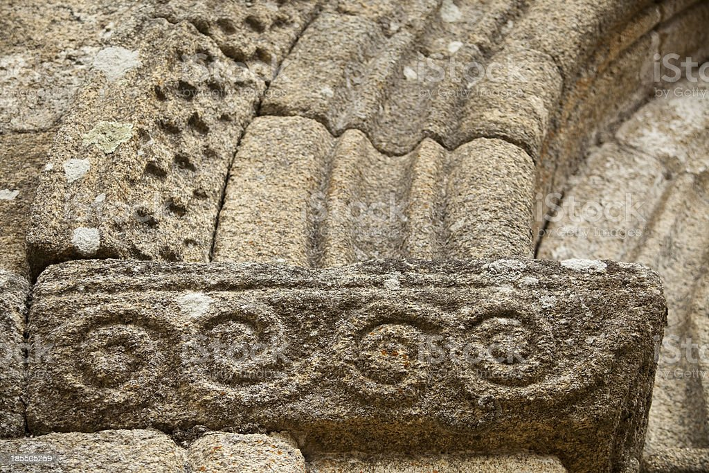 Detail of romanesque carvings. royalty-free stock photo