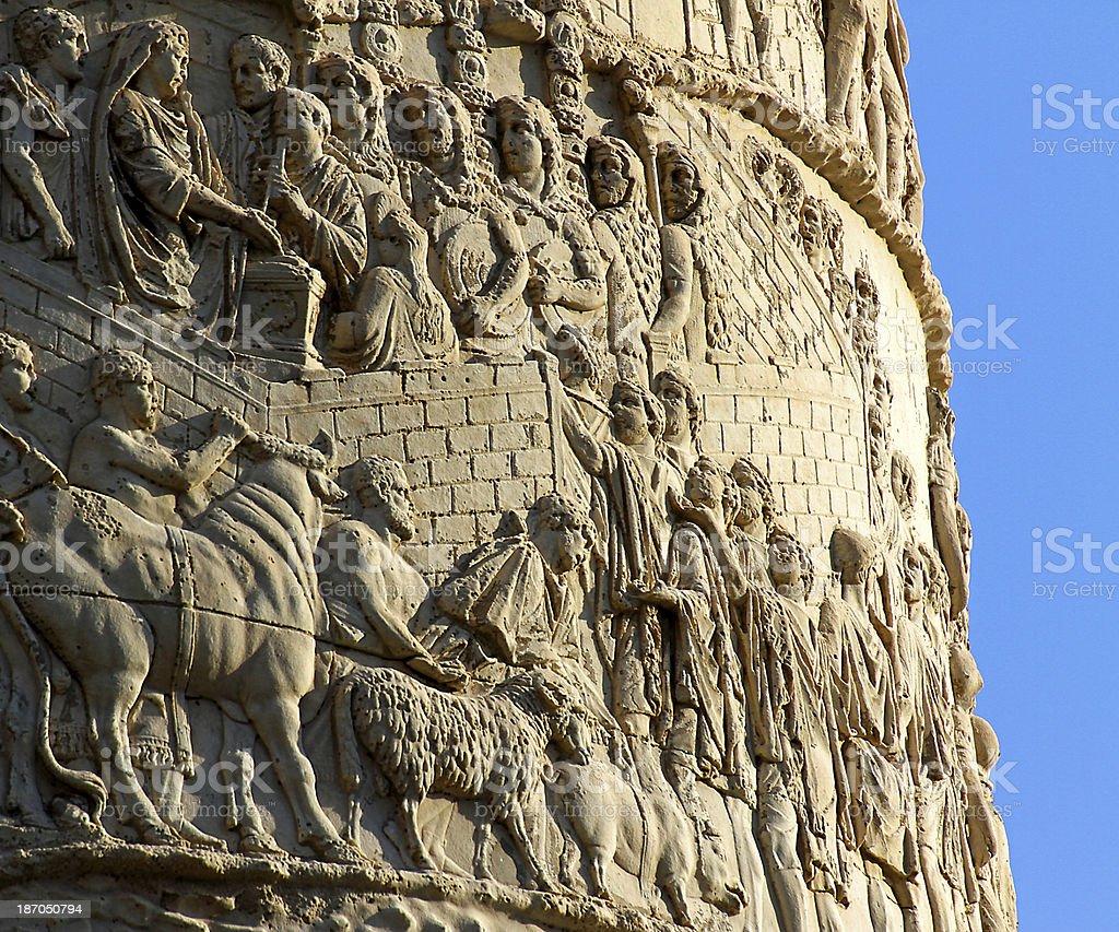 detail of Romans warriors  sculpted in Trajan's column stock photo