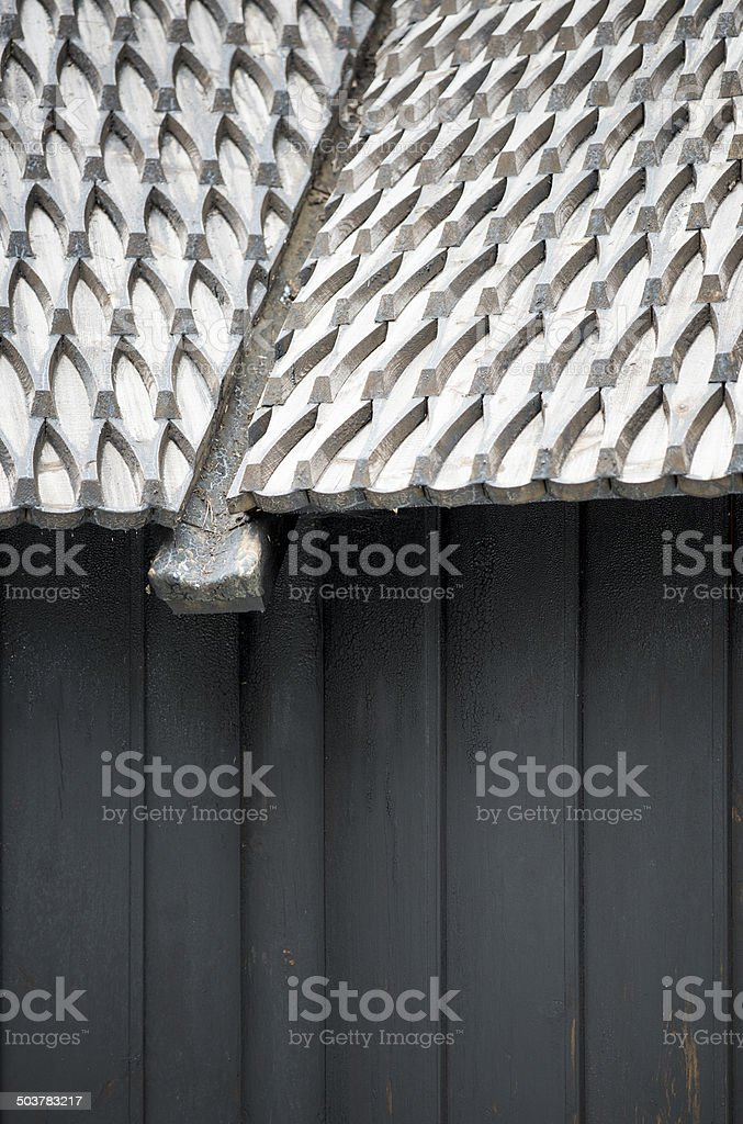 Detail of roof and wall of Fantoft Stave Church, Bergen royalty-free stock photo