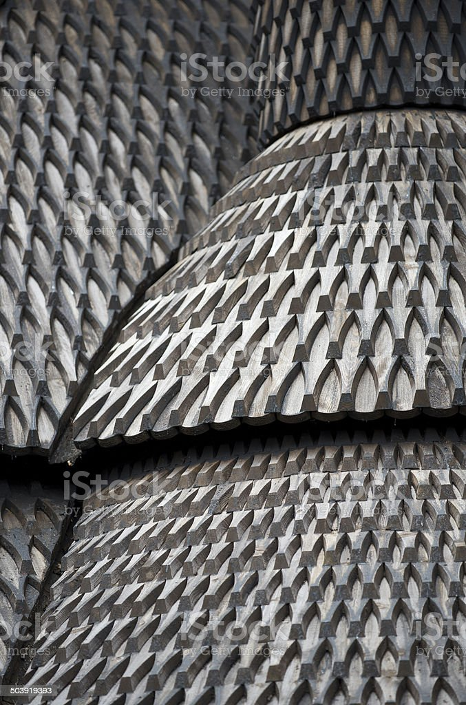 Detail of roof of Fantoft Stave Church in Bergen, Norway stock photo