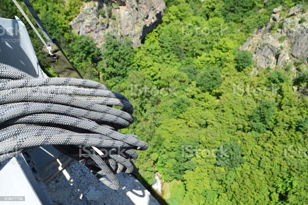 Detail of rope ready for a bungee jump stock photo