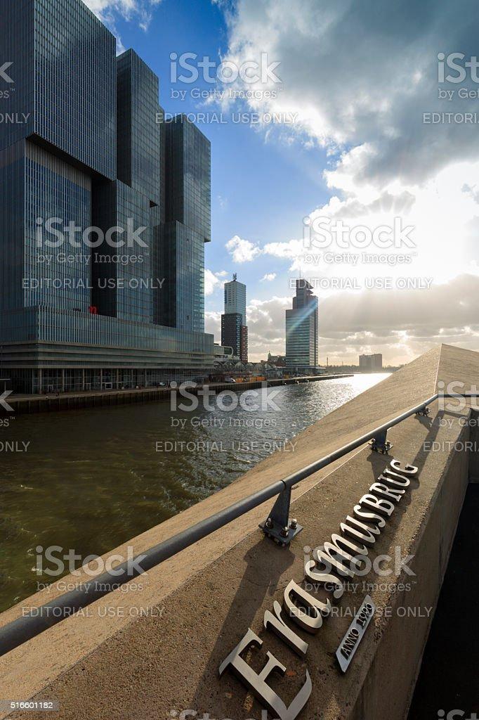 detail of Rotterdam's characteristic Erasmusbrug stock photo
