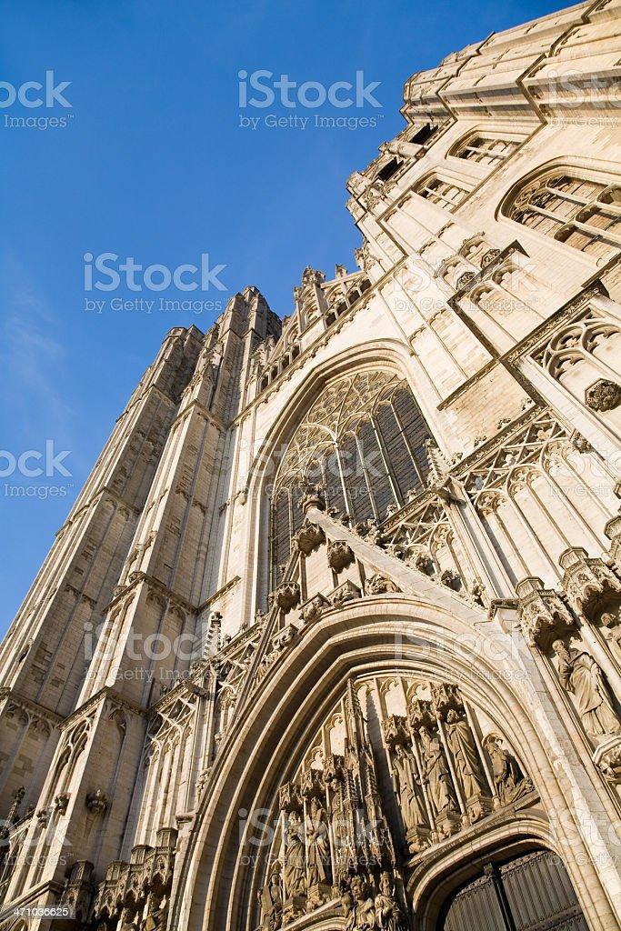 Detail of Saint Michael cathedral in Brussels royalty-free stock photo