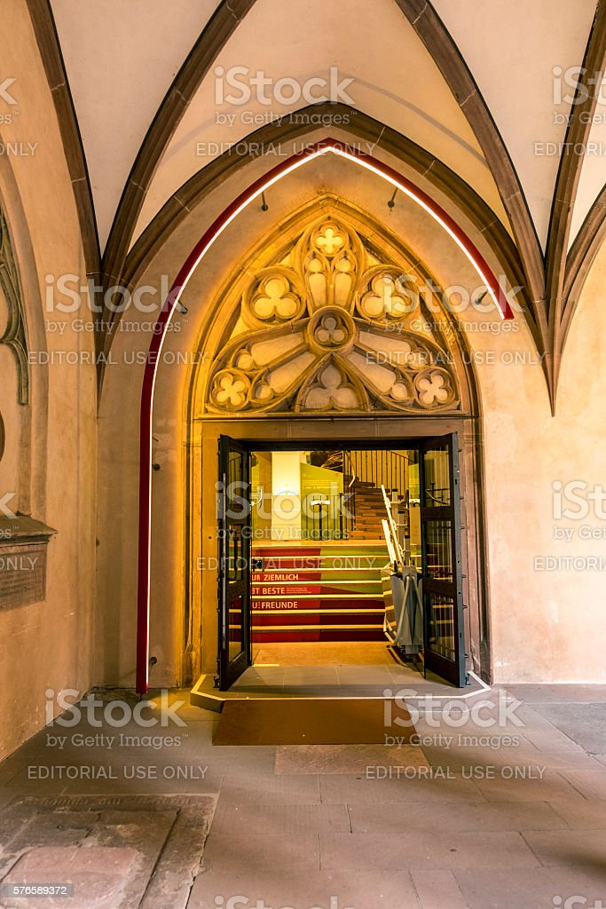 detail of sandstone arc in St Stephan church cloister stock photo