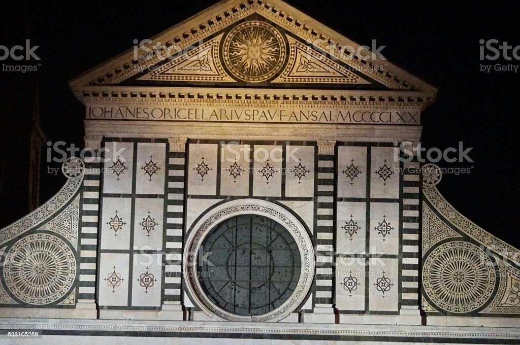 Detail of Santa Maria Novella at night, Florence stock photo