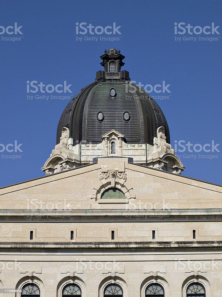 Detail of Saskatchewan Legislative Building in Regina royalty-free stock photo