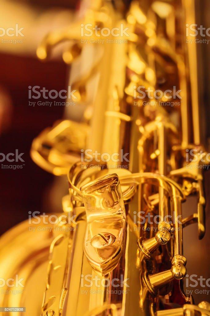 Detail of saxophone stock photo