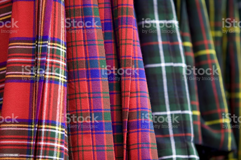 Detail of scottish kilt clothing stock photo