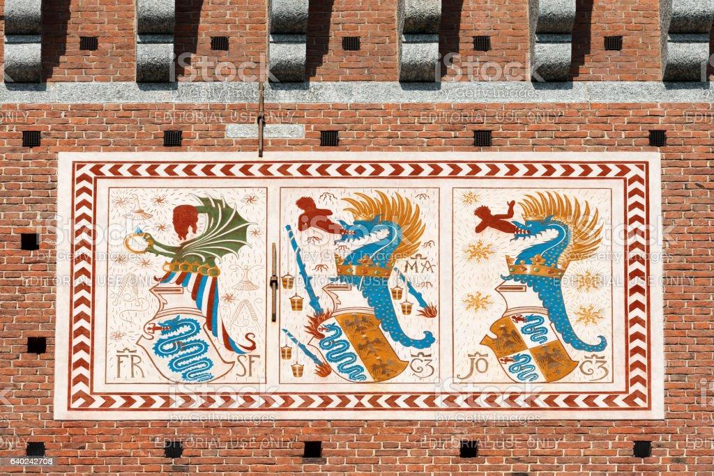 Detail of Sforza Castle in Milan Italy stock photo