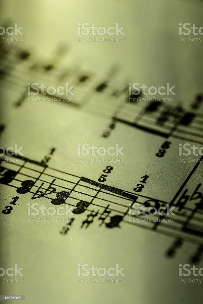 Detail of sheet music stock photo