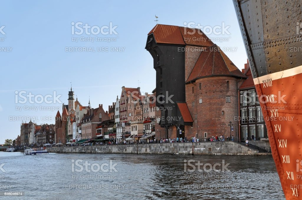 Detail of ship with watermark in the foreground. stock photo