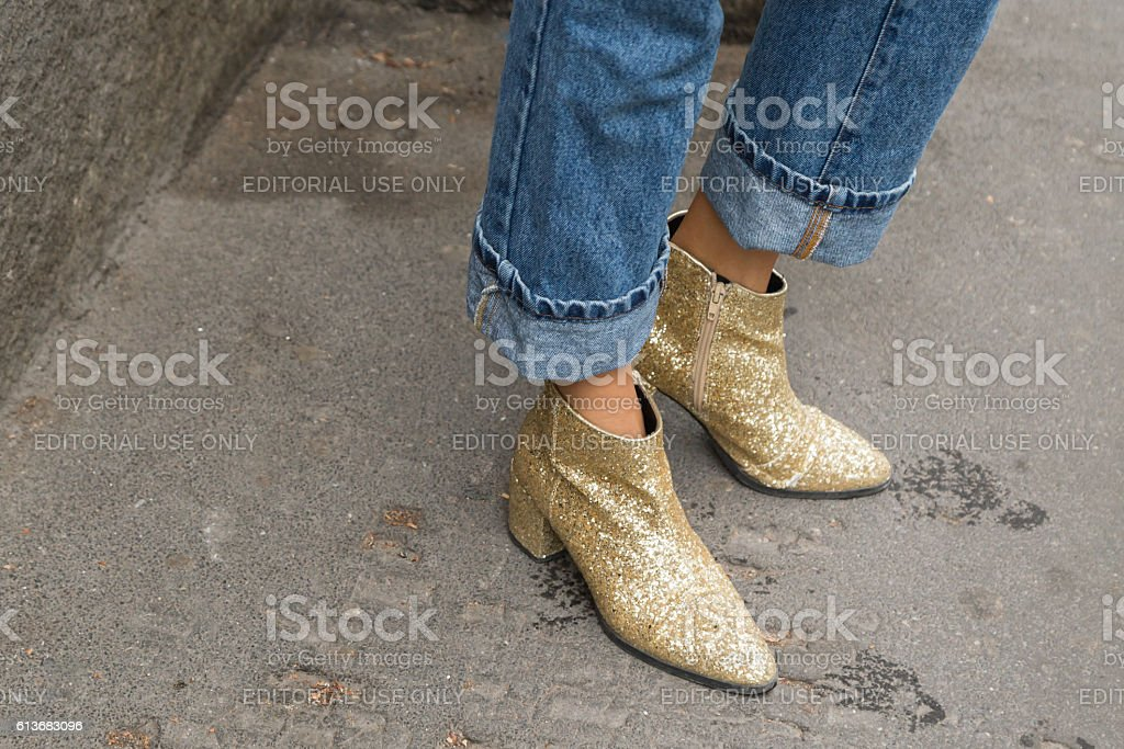 Detail of shoes during Milan Fashion Week stock photo
