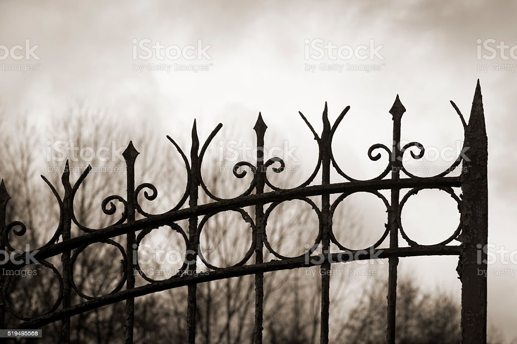 Detail of silhouetted cast iron gate. stock photo