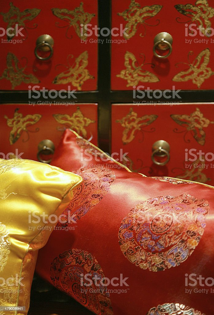 Detail Of Silk Cushions royalty-free stock photo