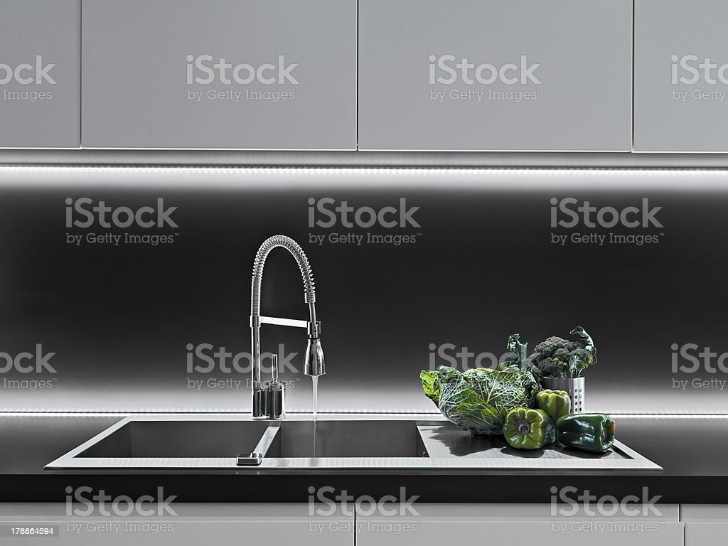 detail of sink in a modern kitchen royalty-free stock photo