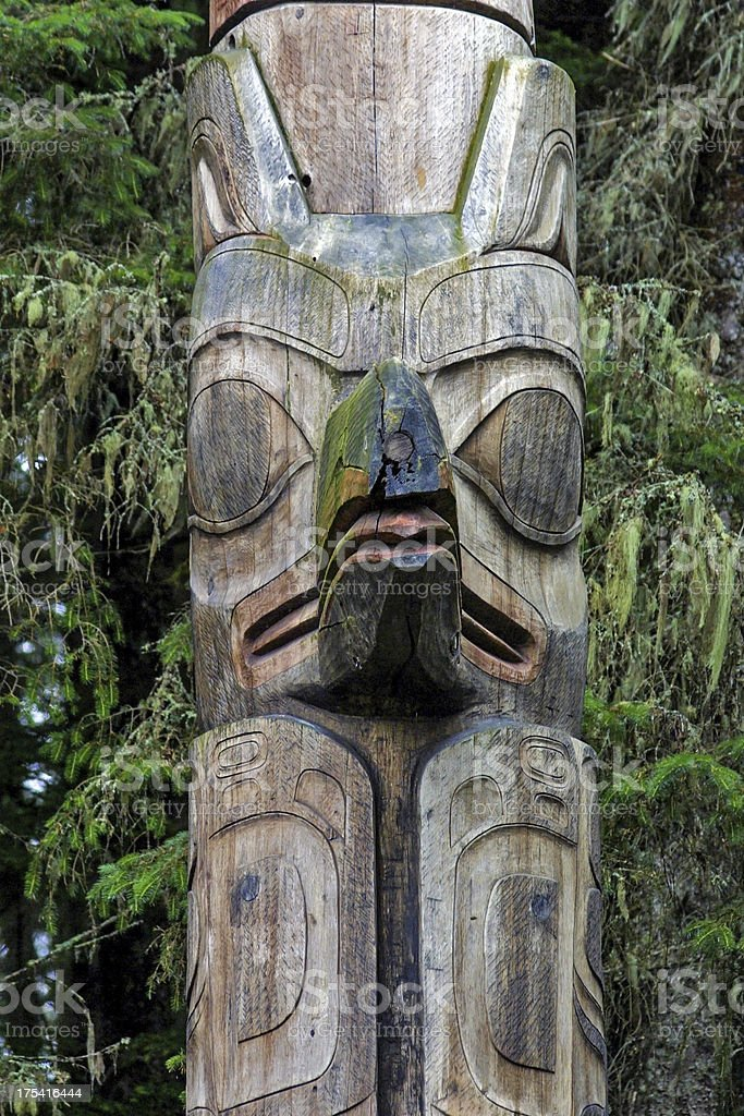 Detail of Sitka Totem Pole stock photo
