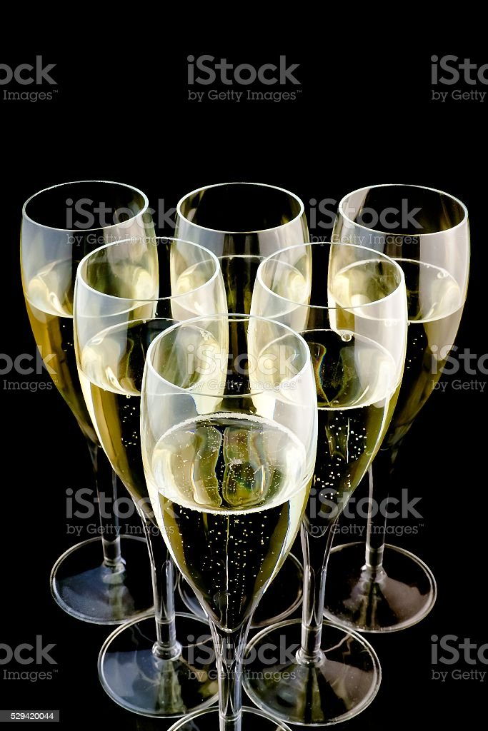 detail of six glasses of champagne stock photo