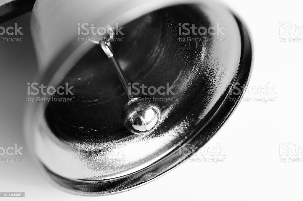 Detail of small steel bell. stock photo
