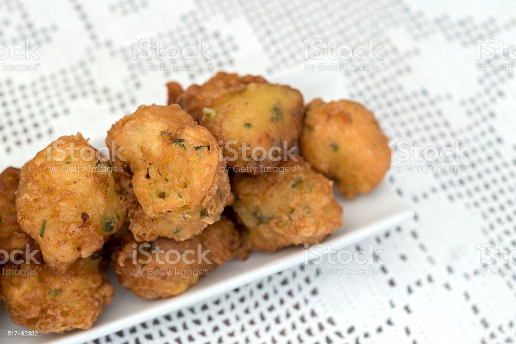 Detail of some cod fritters stock photo