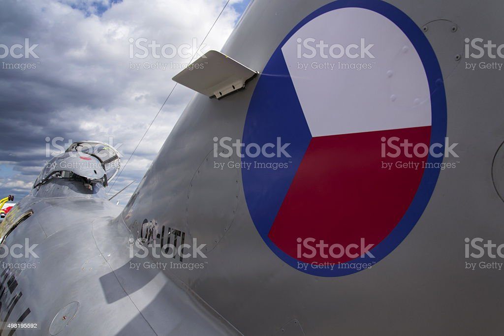 Detail of soviet jet fighter aircraft Mikoyan-Gurevich MiG-15 stock photo