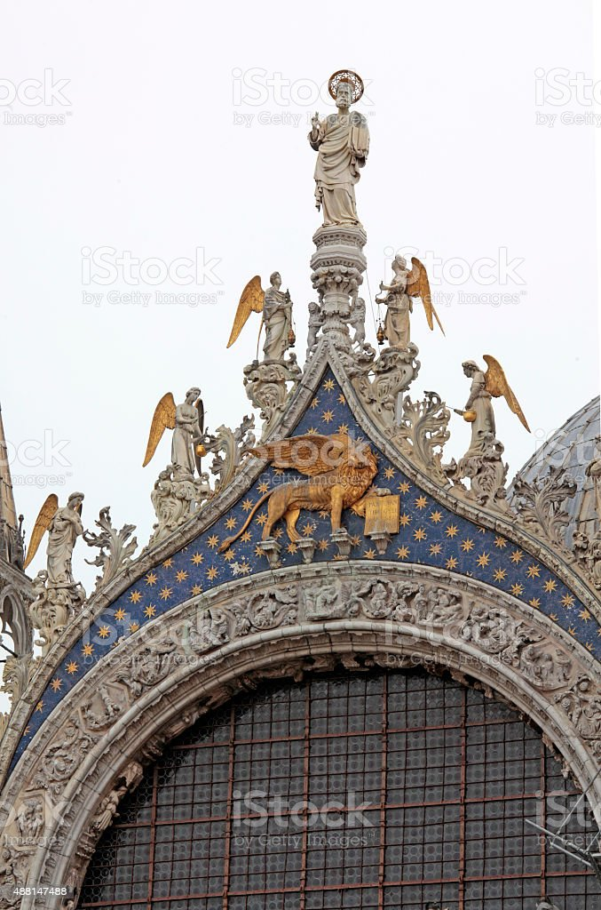 Detail of St. Marks Cathedral, Venice, Italy stock photo