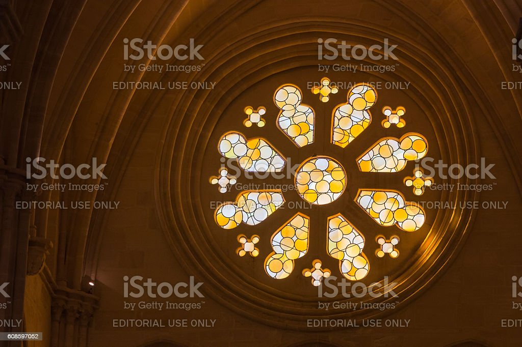 Detail of stained glass window in the Cathedral stock photo