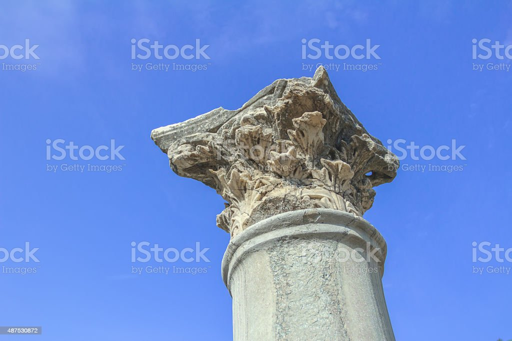 Detail of standing Corinthian order column of ancient Agora stock photo