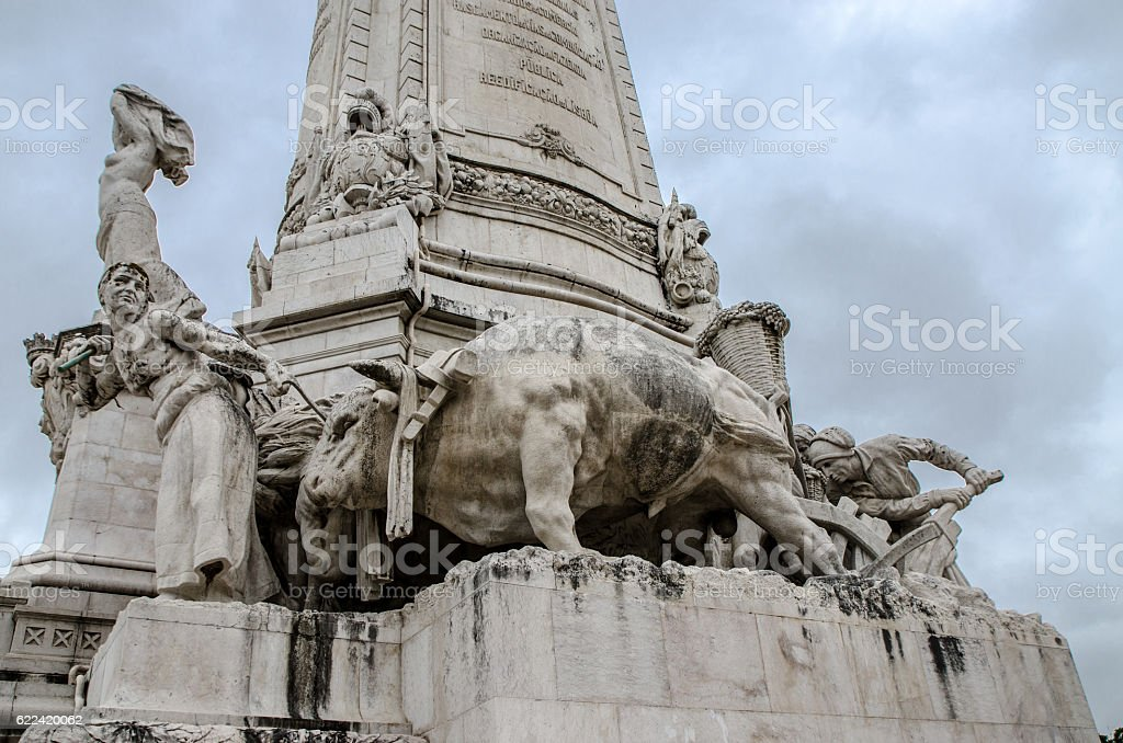 Detail of Statue of Marques de Pombal stock photo