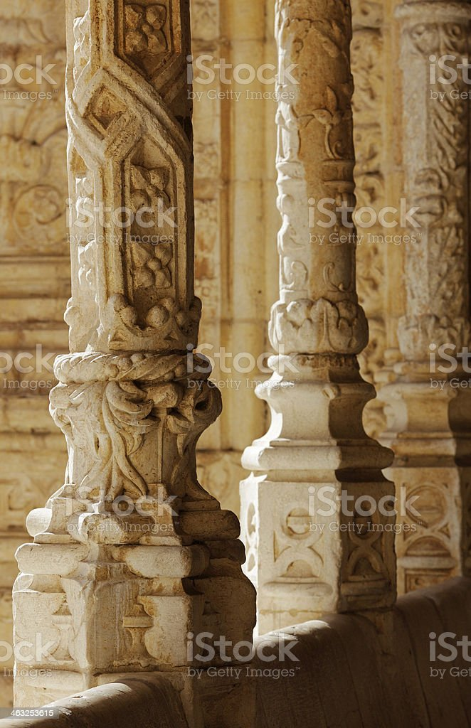 Detail of Stone Column in Cloister, Belem, Lisbon, Portugal royalty-free stock photo