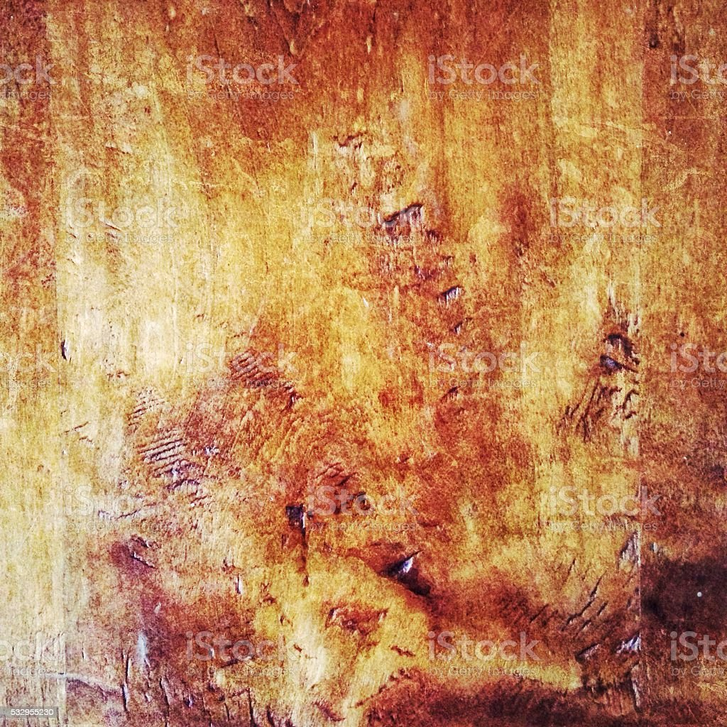 Detail of surface of a rustic mahogany wood table stock photo