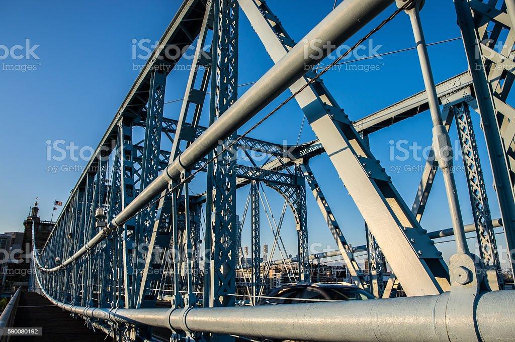 Detail of suspension bridge, Ohio River stock photo