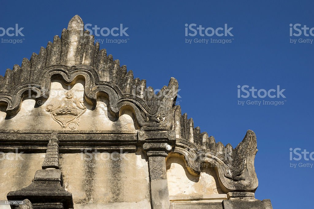 Detail of temple in Bagan with clear sky (Myanmar) royalty-free stock photo