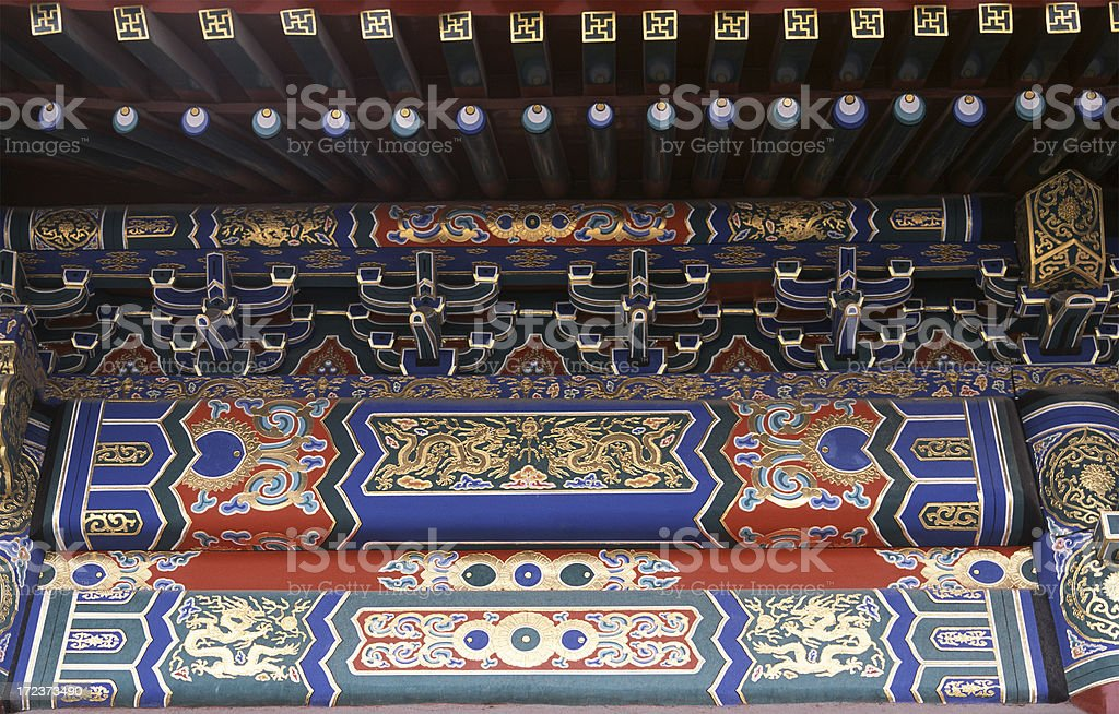 Detail of temple in the Forbidden City stock photo