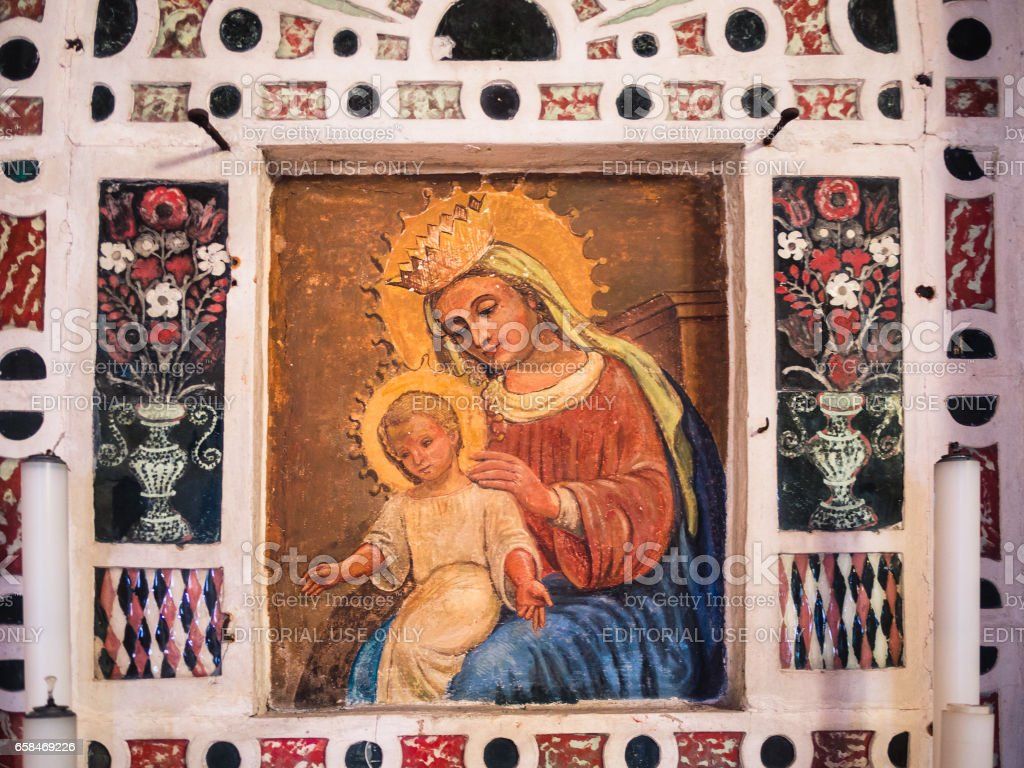 Detail of the altar of the votive church of Saint Mary of the Alzana, famous for the many unexplained healings. stock photo