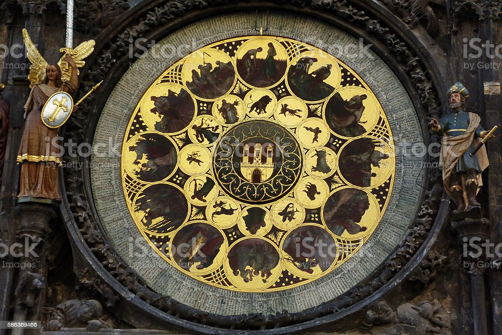 Detail of the astronomical clock of Prague stock photo