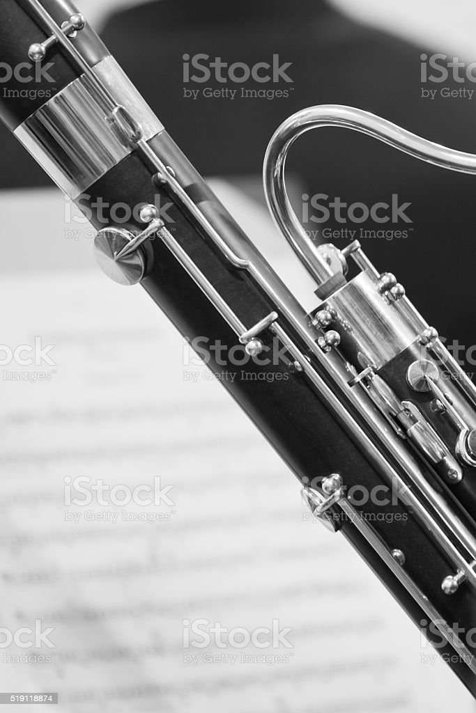 Detail of the bassoon stock photo